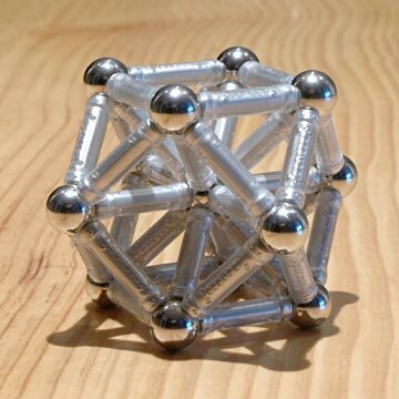 GEOMAG constructions: Cuboctahedron reinforced with internal rods