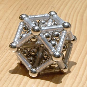 GEOMAG constructions: Cuboctahedron reinforced and filled with balls