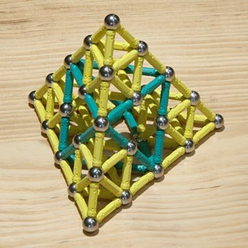GEOMAG constructions: Tetrahedron to quadruple scale